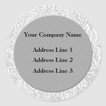 Professional Business Silver  and White Business Address Lables Classic Round Sticker