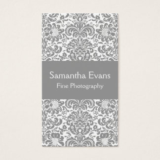 Silver and White Damask Business Card
