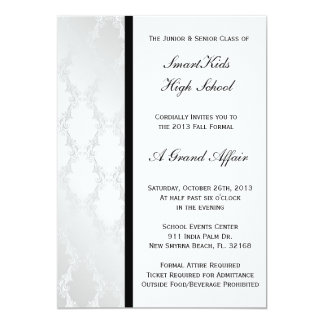 Silver and White Damask School Prom or Formal Card
