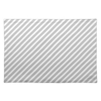Silver and White Diagonal Christmas Candy Stripes Cloth Placemat