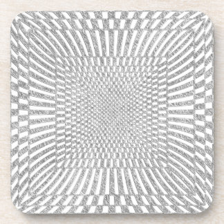 Silver and White Distorted Checkered Pattern Drink Coaster