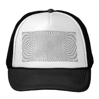 Silver and White Distorted Checkered Pattern Trucker Hat