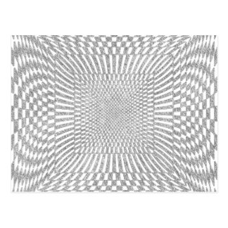 Silver and White Distorted Checkered Pattern Postcard