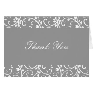 Silver and White Floral Vine Thank You Note Card