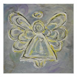 Silver and White Guardian Light Angel Poster Print