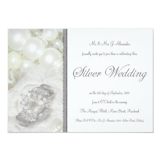 Silver and White Jewels 25th Wedding Anniversary Card