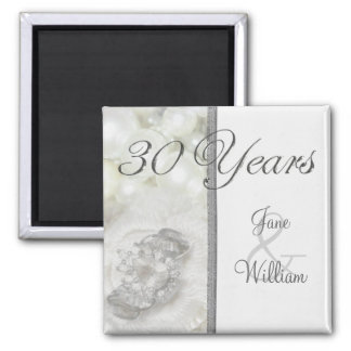 Silver and White Jewels 30th Wedding Anniversary 2 Inch Square Magnet