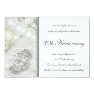 Silver and White Jewels 30th Wedding Anniversary Invitation