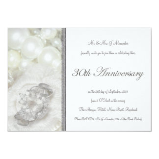 Silver and White Jewels Image 30th Anniversary Invitations