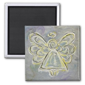 Silver and White Light Angel Magnet