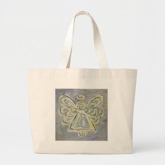 Silver and White Light Angel Tote Bag