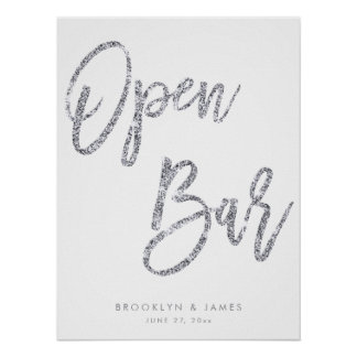 Silver And White Open Bar Sign 18x24