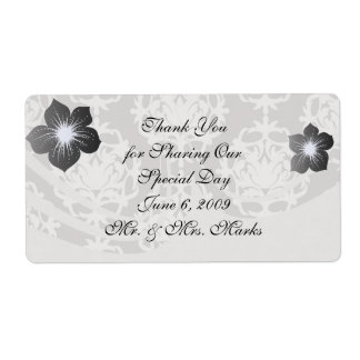 silver and white ornate damask shipping label