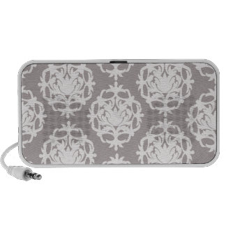 silver and white ornate damask notebook speakers