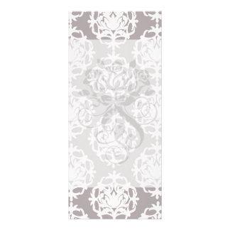 silver and white ornate damask personalized rack card