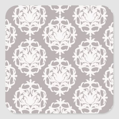 silver and white ornate damask stickers by dooni damask