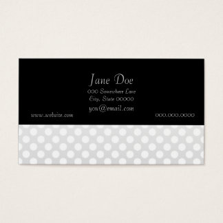 Silver and White Polka Dots Business Card