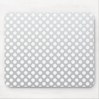 Silver and White Polka Dots Mouse Pad