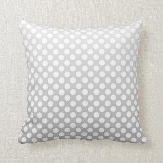Silver and White Polka Dots Throw Pillow