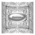 Silver and White Quinceanera Announcement