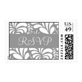 Silver and White RSVP Fern Flora Postage
