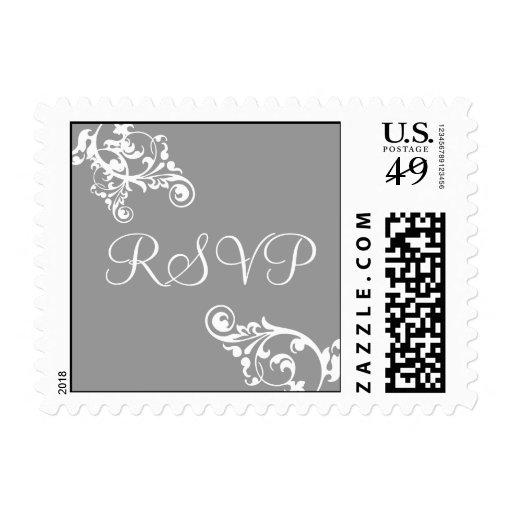 Silver and White RSVP Flourish Postage