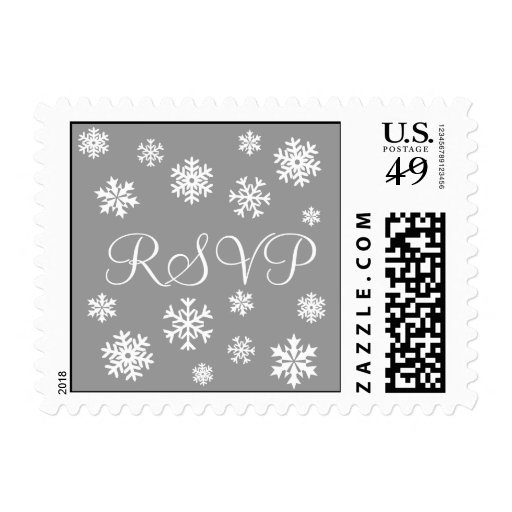 Silver and White RSVP Snowflakes Postage
