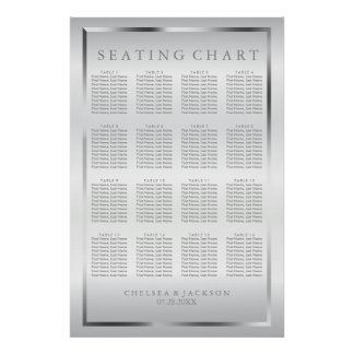 Silver and White Satin - Seating Chart
