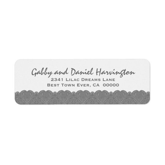Silver and White Scalloped Lace Damask Design F014 Label