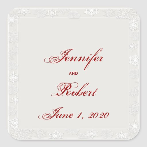 Silver and White Snowflake Wedding Envelope Seal Square Sticker