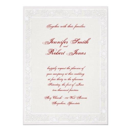 Silver And White Wedding Invitations: Silver And White Snowflake Wedding Invitation