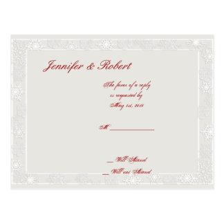 Silver and White Snowflake Wedding RSVP Postcard