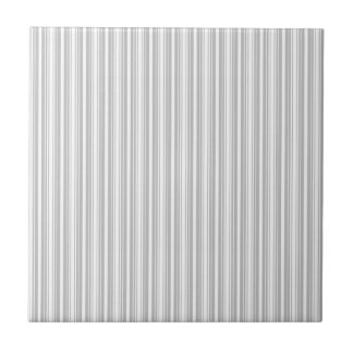 Silver and White Stripes Small Square Tile