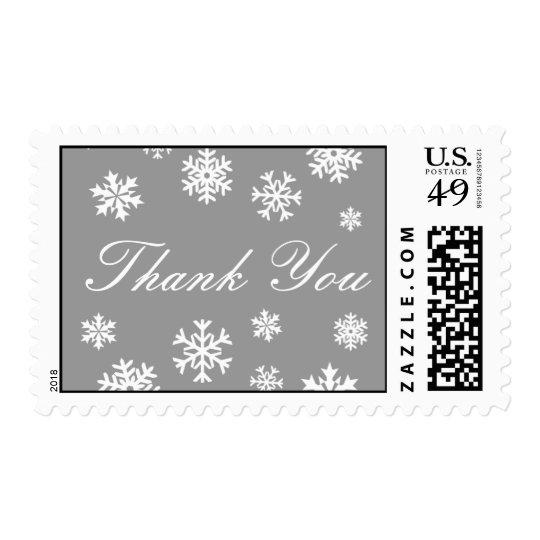 Silver and White Thank You Snowflakes Postage
