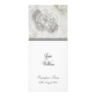 Silver and White Wedding Jewels Reception Menu