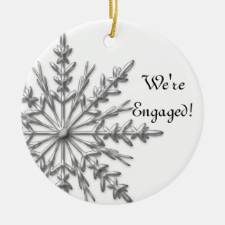 Silver and White Winter Snowflake Engagement Double-Sided Ceramic Round Christmas Ornament