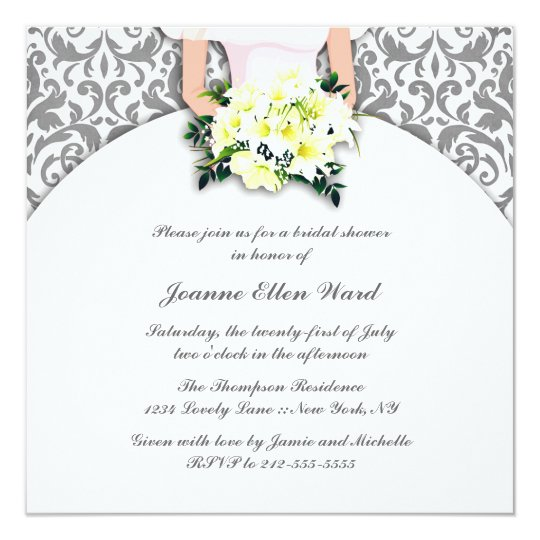 Silver and Yellow Bridal Shower Invitation