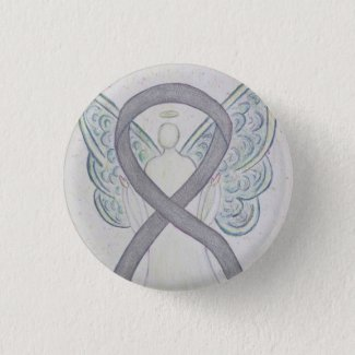 Silver Angel Awareness Ribbon Custom Art Pins