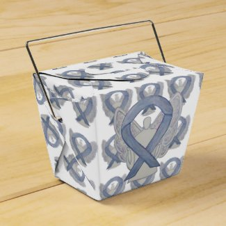 Silver Angel Awareness Ribbon Take Out Favor Boxes