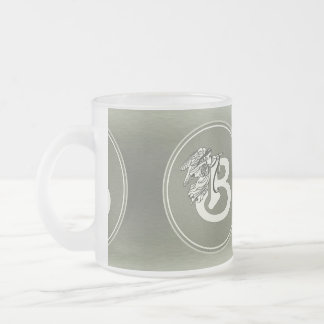 Silver Angel Monogram Letter B Frosted Glass Coffee Mug