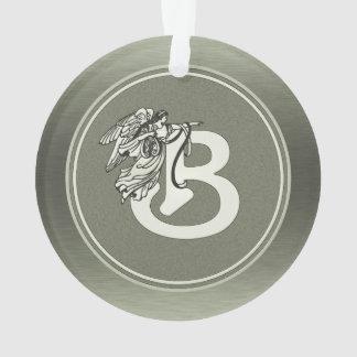 Silver Angel Monogram Letter B Ornament