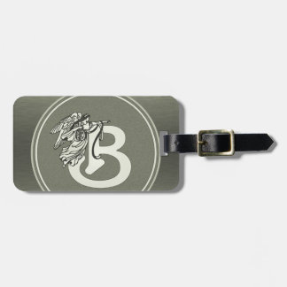 Silver Angel Monogram Letter B Tag For Luggage