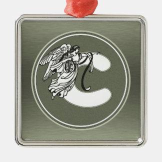 Silver Angel Monogram Letter c Metal Ornament
