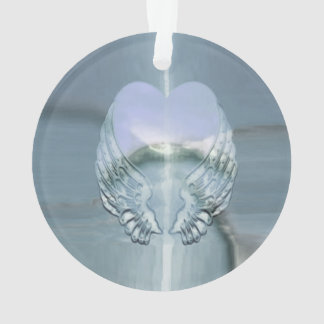 Silver Angel Wings Wrapped Around a Heart