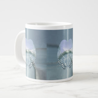 Silver Angel Wings Wrapped Around a Heart Giant Coffee Mug