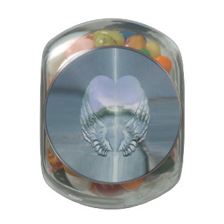 Silver Angel Wings Wrapped Around a Heart Jelly Belly Candy Jars