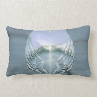 Silver Angel Wings Wrapped Around a Heart Lumbar Pillow