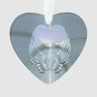 Silver Angel Wings Wrapped Around a Heart Ornament