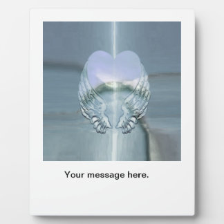 Silver Angel Wings Wrapped Around a Heart Plaque