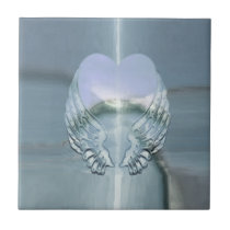Silver Angel Wings Wrapped Around a Heart Tile